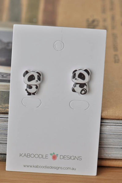 Acrylic Resin Panda Stud Drop Earrings