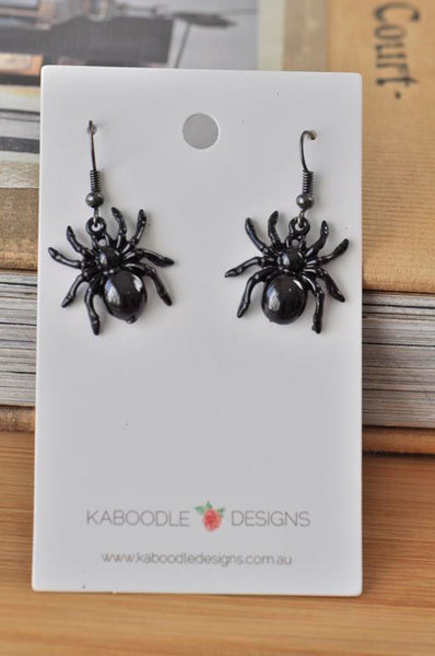 Novelty Fun Steampunk Black Spider Drop Dangle Earrings