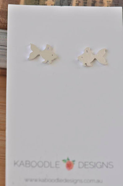 Silver - Stainless Steel Goldfish Fish Cutout Mini Dainty Minimalist Stud Earrings