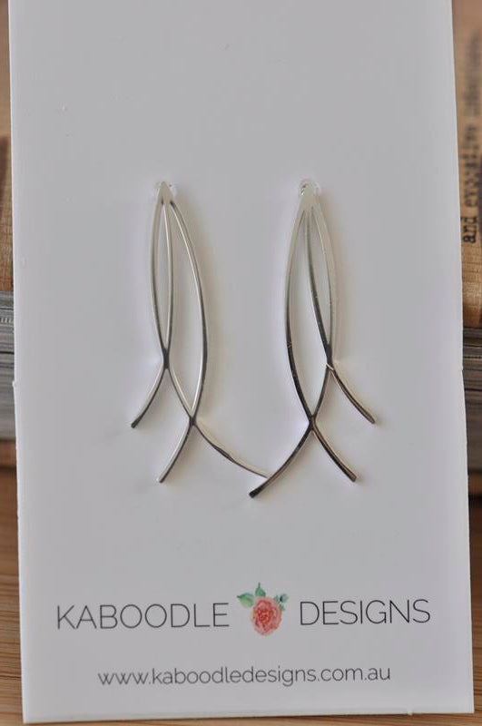 Silver - Stainless Steel Fish Cutout Branches Mini Dainty Minimalist Stud Earrings