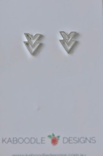 Silver - Stainless Steel Geometric Double Triangle Cutout Mini Dainty Minimalist Stud Earrings