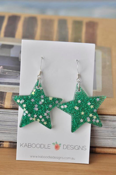 Miniature Glitter Star Dangle Drop Earrings - Green