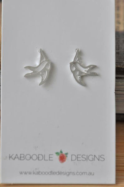 Silver - Stainless Steel Bird Swallow Cutout Mini Dainty Minimalist Stud Earrings