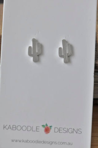 Silver - Stainless Steel Cactus Cutout Mini Dainty Minimalist Stud Earrings