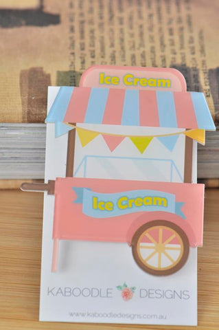 Carnival Ice Cream Cart Market Stall - Acrylic Perspex Brooch