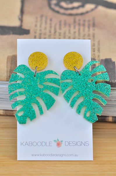 Acrylic Perspex Laser Cut Monstera Glitter Leaf Drop Earrings