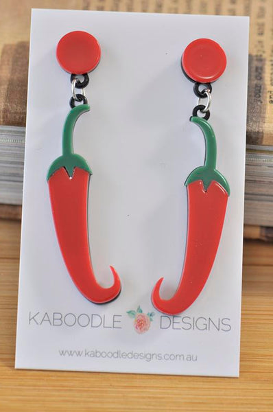 Acrylic Perspex Spicy Red Chilli Jalapeno Pepper Drop Earrings