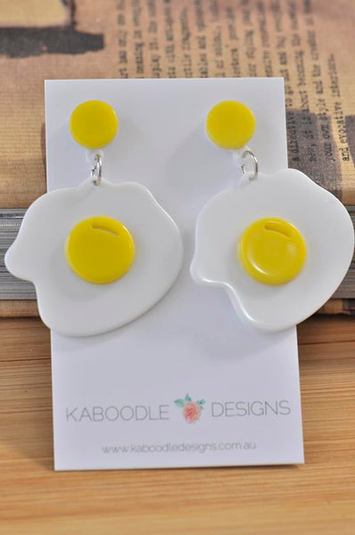 Acrylic Perspex Sunnyside Up Egg Dangle Earrings