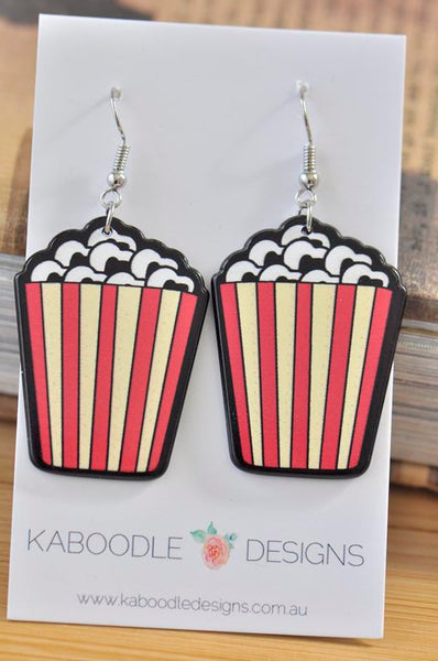 Acrylic Perspex Popcorn Drop Earrings