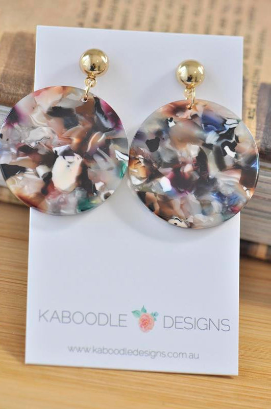 Acrylic Perspex Resin Circle Drop Earrings