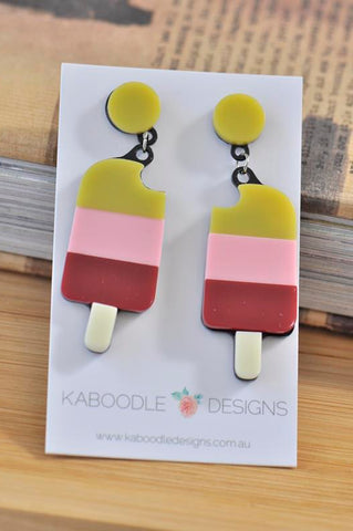 Acrylic Perspex Laser Cut Ice Cream Popsicle Drop Earrings
