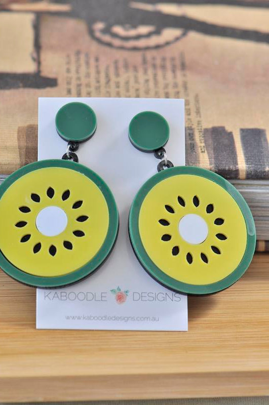 Acrylic Perspex KiwiFruit Kiwi Chinese Gooseberry Dangle Earrings