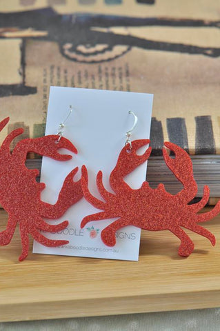 Acrylic Perspex Glitter Crab Dangle Earrings