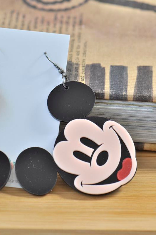 Acrylic Perspex Mickey Mouse Dangle Earrings