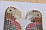 Rhineston Jewelled Parrot Stud Drop Earrings