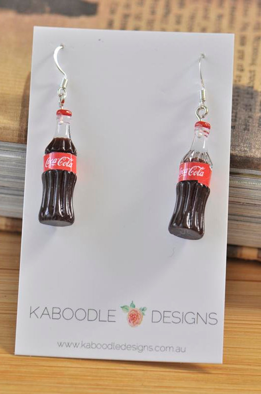Miniature 3D Drink Coca Cola Bottle Dangle Earrings