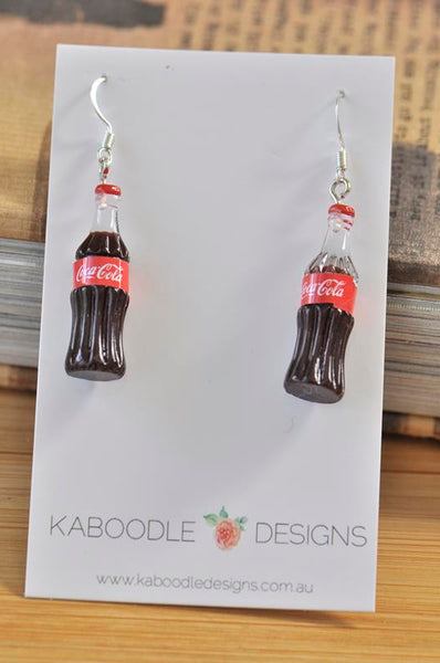 Miniature 3D Drink Coke Coca Cola Bottle Dangle Earrings