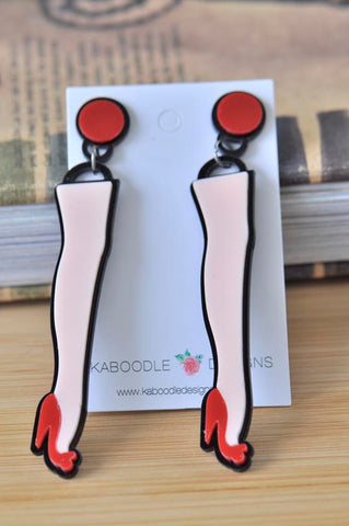 Acrylic Perspex Long Legs Red Stiletto Drop Dangle Earrings