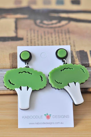 Acrylic Perspex Green Broccoli Vegetable Drop Dangle Earrings