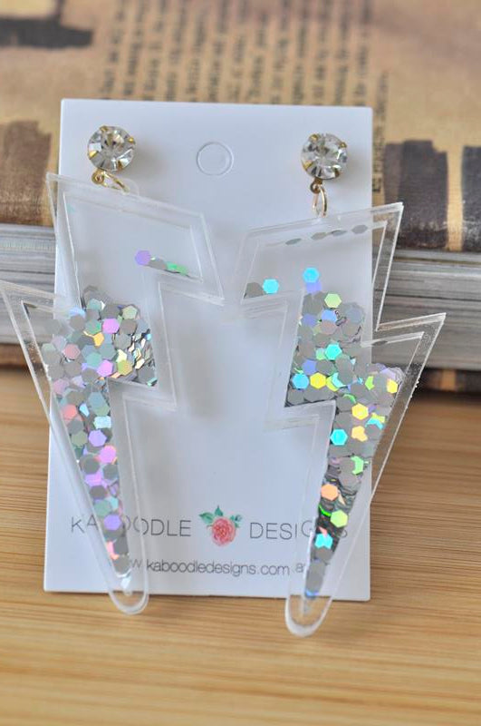 Acrylic Perspex Lightning Bolt Glitter Sequin Sparkles Drop Earrings