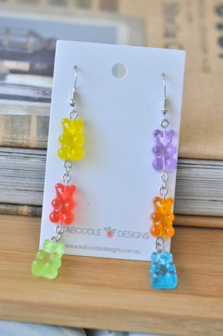 A Miniature 3D Candy Lolly 3 Gummy bear Dangle Drop Earrings
