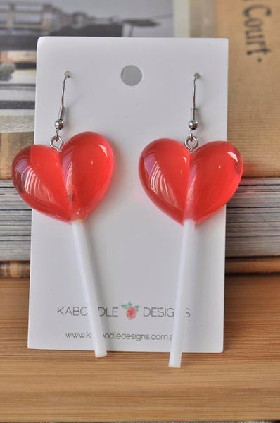 Lollipop Candy Novelty Fun Drop Dangle Earrings - Red