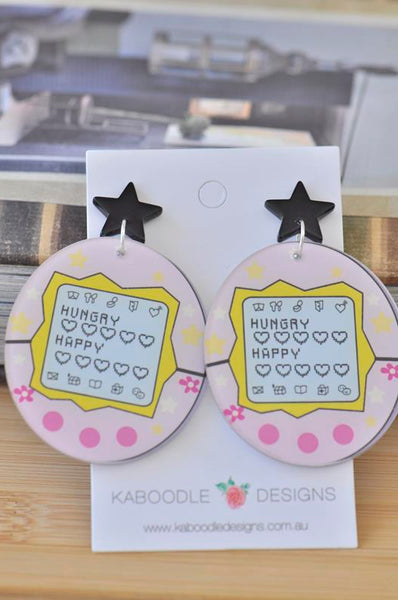 Acrylic Perspex Retro Tamagotchi Drop Earrings