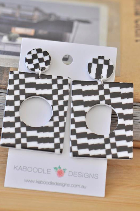 Acrylic Perspex Houndstooth Black and White Chequered  Drop Dangle Earrings