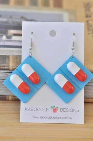 Wooden Novelty Pill Tablet Medicine Drop Dangle Earrings - Blue