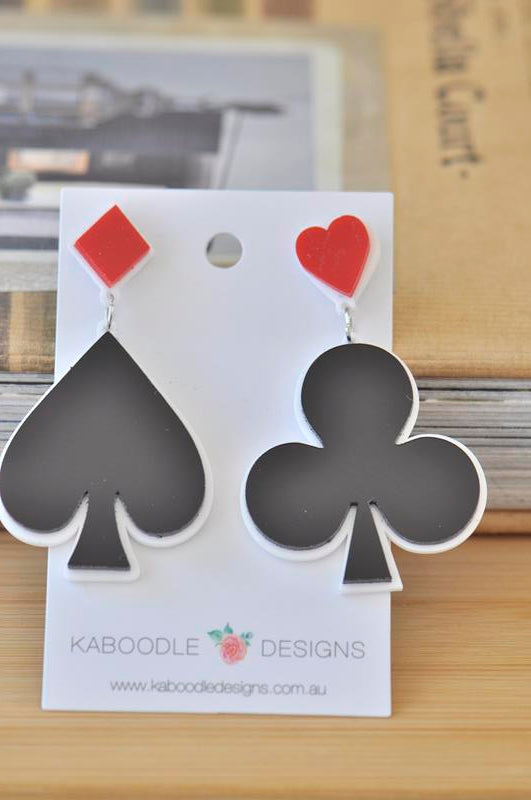 Acrylic Playing Cards Poker Novelty Drop Dangle Earrings