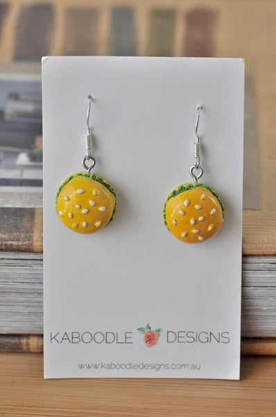 Miniature Food Hamburger Drop Dangle Earrings