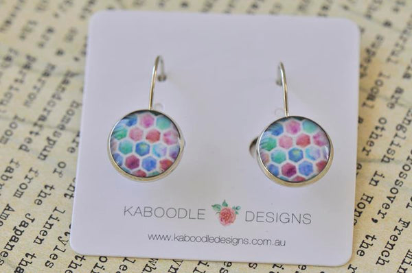 Handmade Round Hexagon Pattern Dangle Earrings - CDE309