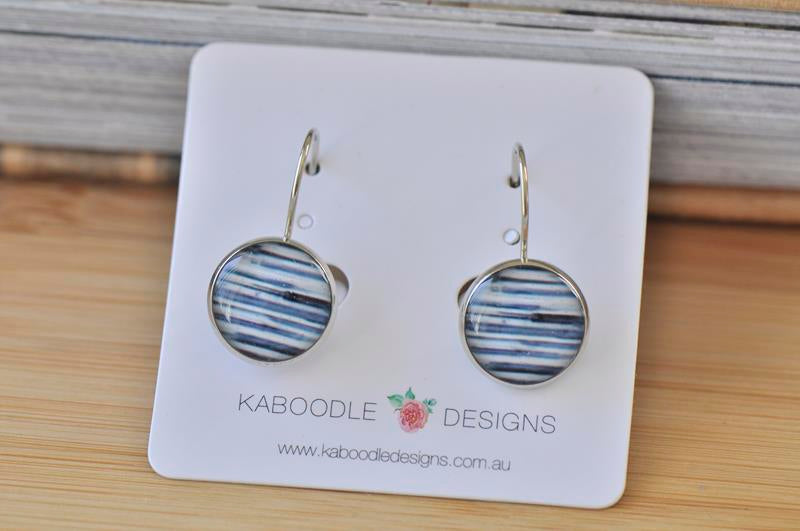 Handmade Round Geometric Stripes Dangle Earrings - CDE314