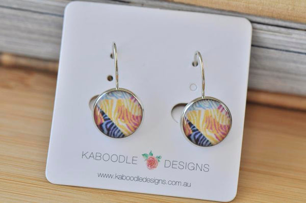 Handmade Round Zebra Stripes Dangle Earrings - CDE404