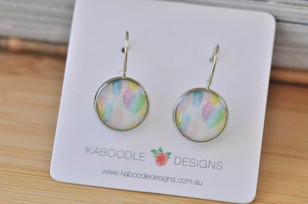 Handmade Round Watercolour Dangle Earrings - CDE407