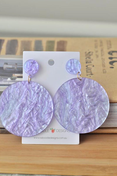 Acrylic Round Circle Lilac Drop Dangle Earrings