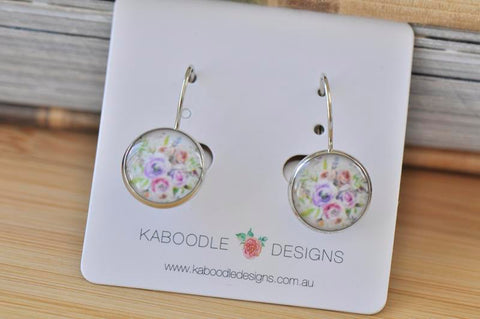 Handmade Round Boho Bohemian Flowers Dangle Earrings - CDE410