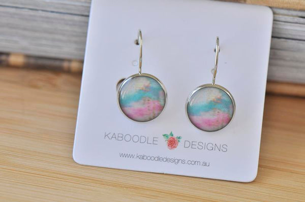 Handmade Round Watercolour Dangle Earrings - CDE417