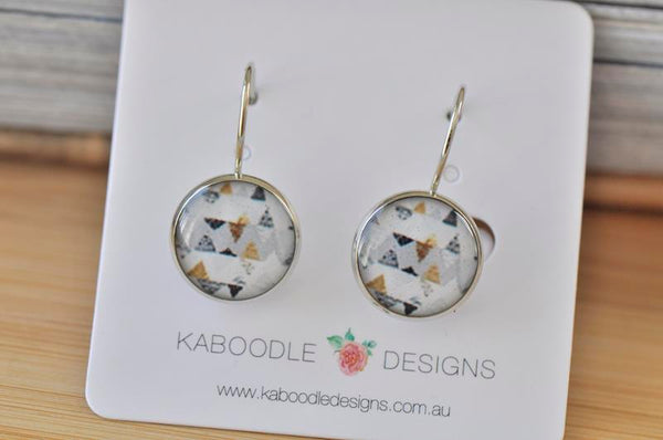 Handmade Round Geometric Triangle Dangle Earrings - CDE442