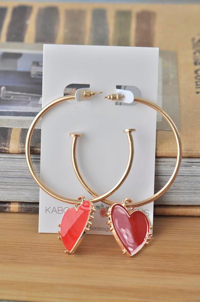 Red Heart Hoop Drop Earrings