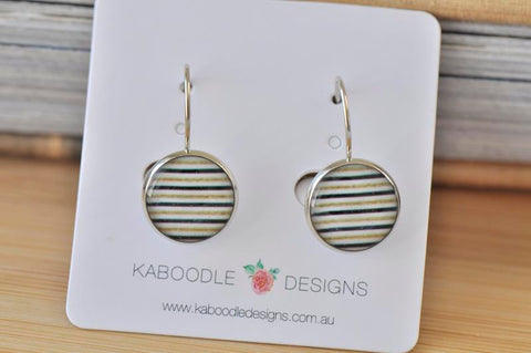Handmade Round Black White Gold Stripes Dangle Earrings - CDE422