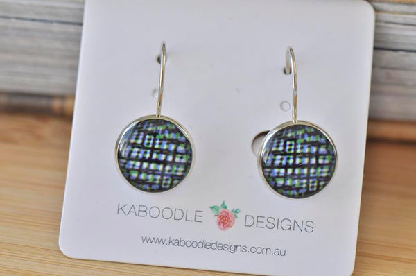 Handmade Round Graphic Dangle Earrings - CDE470