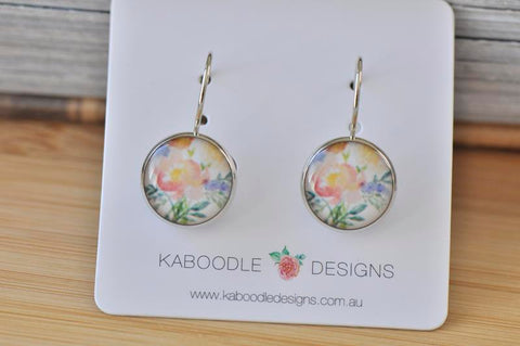 Handmade Round Boho Bohemian Flower Dangle Earrings - CDE453
