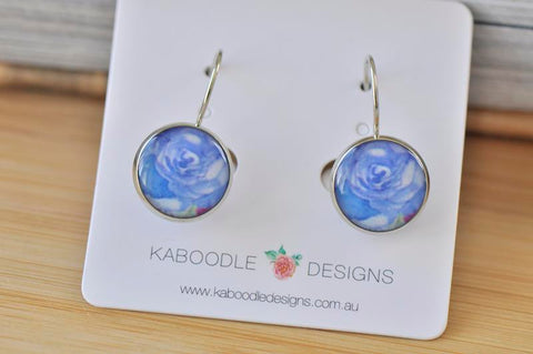 Handmade Round Blue Flower Dangle Earrings - CDE467