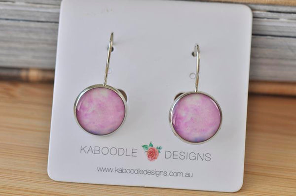 Handmade Round Watercolour Pink Dangle Earrings - CDE468