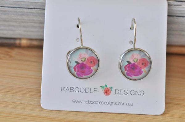 Handmade Round Boho Bohemian Flowers Dangle Earrings - CDE465
