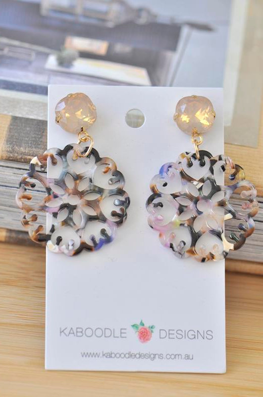 Acrylic Perspex Geometric Round Filigree Drop Earrings