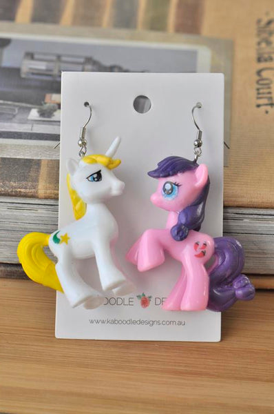 My Little Pony Resin Drop Dangle Earrings - White and Pink