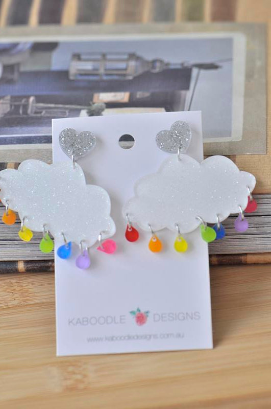 Acrylic Perspex Rainbow Rain Cloud Dangle Earrings
