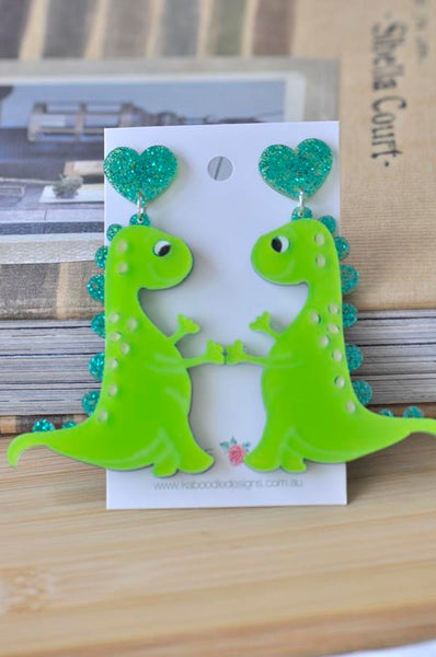 Acrylic Perspex Dinosaur Drop Dangle Earrings